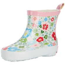 Playshoes Regenstiefel Blumen 180364, Mädchen Kurzschaft Gummistiefel, Pink (900 original), 18 EU