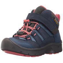 Keen Hikeport Mid Wasserdichter Kinder Outdoor-Stiefel, Keen.Dry Membran für Wasserdichtigkeit und Atmungsaktivität, Schnellschnürung , Blau (DRESS BLUES/SUGAR CORAL), EU 34 Youth