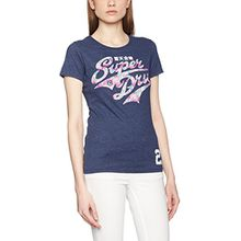 Superdry Damen T-Shirt Stacker Entry, Blau (Princeton Blue Marl), Gr. 38 (Herstellergröße: Small)
