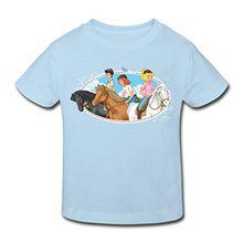 Spreadshirt Bibi Und Tina Ausritt Mit Alexander Amadeus Sabrina Und Maharadscha Kinder Bio-T-Shirt, 110/116 (5-6 Jahre), Hellblau
