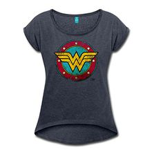 Spreadshirt DC Comics Wonder Woman Logo Used Look Frauen T-Shirt mit Gerollten Ärmeln, M, Navy Meliert