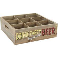 """Holz Tablett Flaschen + Gläser """"Beer"""" 27x27 cm braun  Erwachsene"""