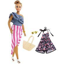 Barbie Fashionistas Puppe + Mode Geschenkset mit blümchen Jumpsuit und goldener Sonnenbrille