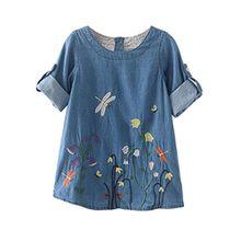 HUIHUI Kleid Mädchen, Toddler Mädchen Kleid Langarm Blumen Stickerei Denim Party Prinzessin Dress Casual T-shirt Kleid Frühlings Herbst Cocktailkleid Sommerkleider (130 (5-6Jahre), Hellblau)