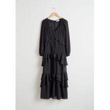 Beaded Ruffle Midi Dress - Black