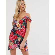 Parisian - Minikleid mit Wickelrock, Schulteraussparungen und buntem Blumenmuster - Mehrfarbig