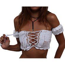 Minetom Badeanzug Badekleid Sommer Damen Bra Style Bikini Tops Bademantel Bademode Swimsuit Swimwear Sexy Stricken Handwerk Weste Weiß One Size