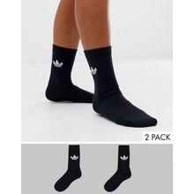 adidas Originals - Schwarze Socken im 2er-Pack mit Kleeblatt-Logo - Schwarz