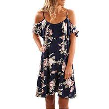 Damen Kleider Frauen Dress Blau Sommerkleider Vintage Blumenkleid Ärmelloses Blume Bedruckt Minikleid Halfter Strandkleid Abendkleid Großen Größen Partykleid Cocktailkleid (XL, Sexy Blau )