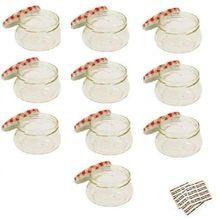 Viva Haushaltswaren 10 x kleines Marmeladenglas/Einmachglas 200 ml mit Deckel, Twist-off Gläser Set in Tulpenform - als Einweckgläser, Vorratsdosen etc. verwendbar (inkl. Beschriftungsetiketten)