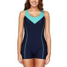 Charmo Damen Einteiler Sport Badeanzug mit Bein Hotpants Kontrast Rückenfrei Bademode Sport Swimsuit Nachtblau L