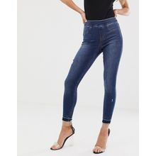 Spanx - Formende und anhebende, enge Jeans mit Abnutzungserscheinungen - Blau