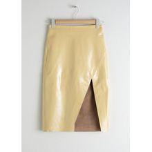 Leather Midi Pencil Skirt - Yellow
