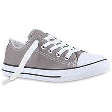 Kinder Sneakers Sport Denim Stoff Schnürer Sneaker Low Turn Schuhe 139990 Grau 35 Flandell
