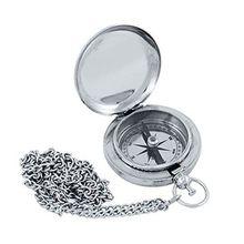 Maritimer Sprungdeckel Kompass mit Kette, Taschenuhren Kompass, silbern