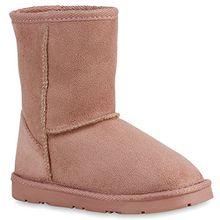 9732c1852118b4 Warm Gefütterte Kinder Schuhe Stiefel Schlupfstiefel Leder-Optik 127377  Pink Amares 31 Flandell