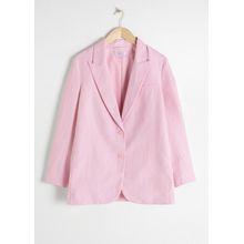 Oversized Linen Blend Blazer - Pink