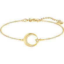 Crescent and Star Armband, weiss, vergoldet