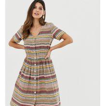 Esprit - Gestreiftes Midi-Hemdkleid mit V-Ausschnitt - Mehrfarbig