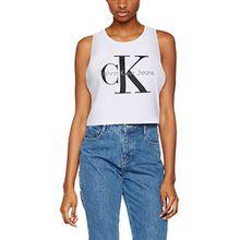Calvin Klein Jeans Damen Top Tendel-4 True Icon CN Lwk S/L, Weiß (Bright White 112), 40 (Herstellergröße: L)