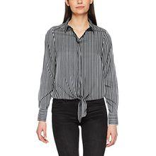 VERO MODA Damen Bluse Vmnicky L/S Tie Top D2-1, Mehrfarbig (Snow White AOP:Thin Stripe), 38 (Herstellergröße: M)