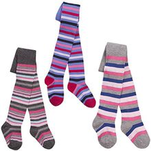 I2i Mädchen-Strumpfhosen aus Baumwolle, bunte Musterung Gr. 2-3 Jahre, 3 Pack Stripe Multi