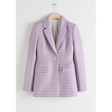 Tailored Gingham Blazer - Purple