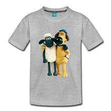 Spreadshirt Shaun Das Schaf und Hund Bitzer Freunde Kinder Premium T-Shirt, 122/128 (6 Jahre), Grau Meliert