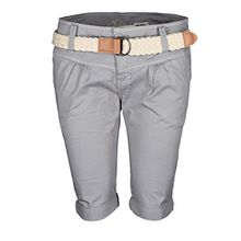 Fresh Made Damen Short Sommer kurze Hose Chino Shorts inkl. Bermuda Gürtel B458 [B458 - Mittelgrau - 80ZE/ZF - Gr.XS-Gr.34]