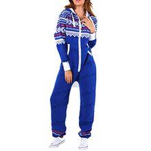 Amberclothing Damen Jumpsuit, Aztekisch Gr. xl, Blau - Königsblau