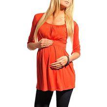 Purpless Maternity Damen U-Ausschnitt Umstands Top Tunika 5006 (46 (UK 18), Red)