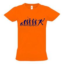 TENNIS Evolution Kinder T-Shirt orange-navy, Gr.140cm
