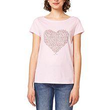 edc by ESPRIT Damen T-Shirt 048CC1K116, Rosa (Pastel Pink 695), Large