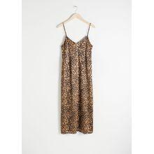 Satin Leopard Slip Dress - Beige