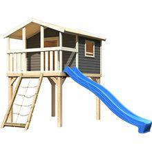 Stelzenhaus Benjamin terragrau mit Netzrampe und Rutsche blau