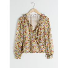Sheer Floral Wrap Blouse - Yellow