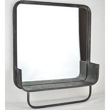 Badespiegel mit Handtuchhalter im Industrie Stil – Regal mit Spiegel im Vintage Chic – Garderoben Regal im Retro Look