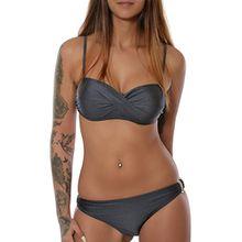 Damen Badeanzug Twist Push-Up Bikini-Set in angesagten Farben No 15571, Farbe:Grau;Größe:42 / XL
