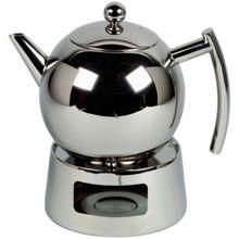 Edelstahl Teekanne mit Siebeinsatz 1,25 L silber