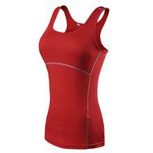 ZKOO Damen Tanktop - Quick Dry, Damen Sport Tank Top mit Kräftigen Farben und Racerback, Dehnbar und Atmungsaktiv Rot S