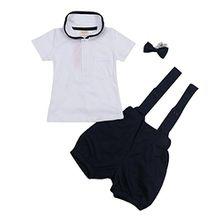 Babykleidung Anzüge Neugeborenes Baby-Mädchen Jungen mit kragen Frühjahr Sommer Kurzarm fotoshooting für taufe Baby Body 1PC Tops + 1PC Hosen + 1PC Hut (70 CM)