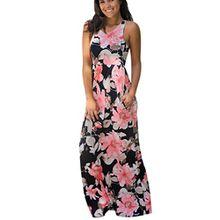 Damen Kleider Frauen Dress Sommerkleider Vintage Boho Maxikleid Ärmelloses Beiläufiges Strandkleid Blumenkleid Abendkleid Floralen Druck Minikleid Partykleid Cocktailkleid (XL, Sexy Wasser)