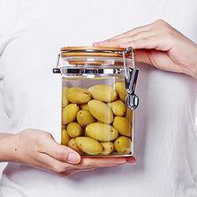 Luftdichter Glasbehälter, ideal für Spaghetti und andere trockene Lebensmittel, getrocknetes Obst, Kaffee, Zucker usw. mit luftdicht schließendem Deckel für Vakuumverschluss, glas, 850ML