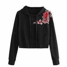 Xinan Damen Kapuzenpullover Damen Sweatshirt Hoodie Shirt Crop Top (M, ♫Schwarz)
