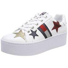 Hilfiger Denim Damen Tommy Jeans Icon Sparkle Sneaker, Weiß (White 100), 37 EU