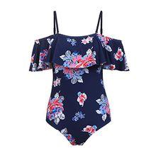 ADOME Damen Badeanzug Push Up tankini UV Frauen Rückenfrei monokini Bademode Slim Retro Große Größen, 6445_dunkelblau, 40/L