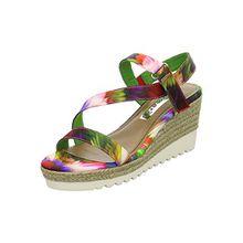 Tamaris Damen Keil Sandaletten Mehrfarbig, Schuhgröße:EUR 39