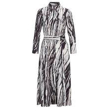 Hemdblusenkleid aus italienischem Twill mit Zebra-Print und Gürtel