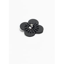Flower Leather Brooch - Black