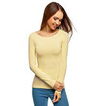 oodji Collection Damen Langarmshirt, Gelb, DE 38/EU 40/M